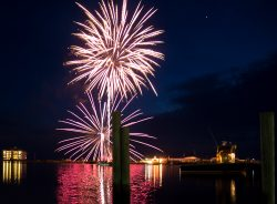 fireworks explode over the bay in crisfield maryland