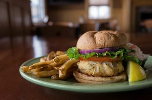 crabcake sandwich with fries