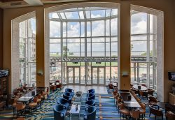 view of the chesapeake bay from the hyatt cambridge with the lobby below