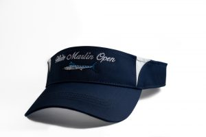 blue and white visor for White Marlin open on a white background