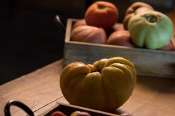 heirloom tomatoes of the green yellow and pink variety