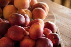 fresh nectarines and peaches on a butcher block counter