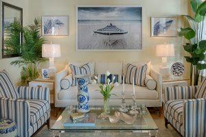 a blue striped living room with nautical influences