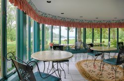 floral garden themed breakfast area with views of the chesapeake bay