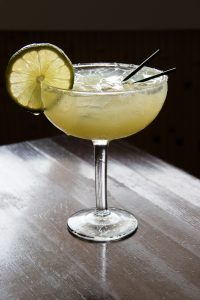 a backlit margarita with lime