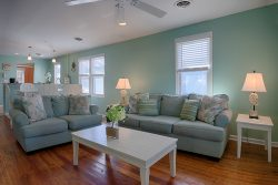 nautical themed living room with seafoam blue walls and sofas