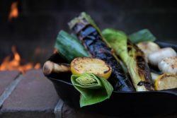 leaks garlic lemon charred over open flame