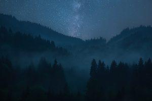 foggy mountains stars sky