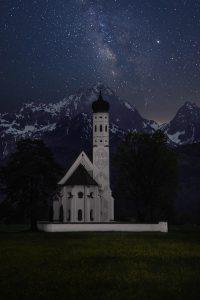church alps night sky stars snowy mountains