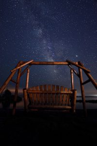 glider swing at night looking at stars