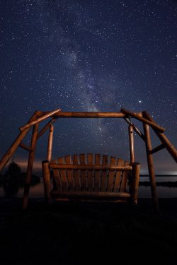 glider swing at night looking at stars