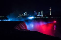 niagara falls waterfall at night red blue lights