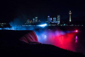 niagara falls waterfall at night red blue lights